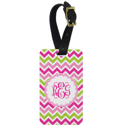 Pink & Green Chevron Aluminum Luggage Tag (Personalized)