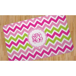 Pink & Green Chevron Area Rug (Personalized)