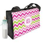 Pink & Green Chevron Diaper Bag w/ Monogram