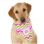 Pink & Green Chevron Dog Bandana Scarf w/ Monogram
