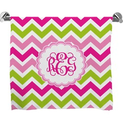 Pink & Green Chevron Full Print Bath Towel (Personalized)