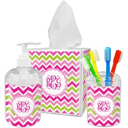 Pink & Green Chevron Bathroom Accessories Set (Personalized)