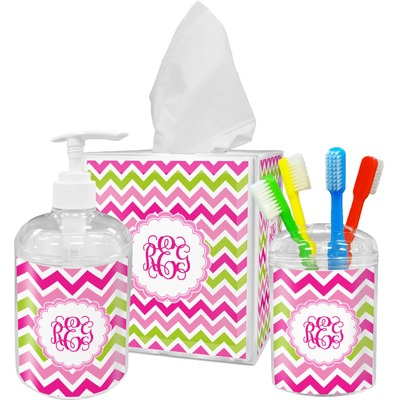 pink green chevron bathroom accessories set personalized rnk