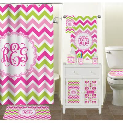 Pink Green Chevron Finger Tip Towel Full Print