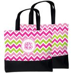 Pink & Green Chevron Beach Tote Bag (Personalized)
