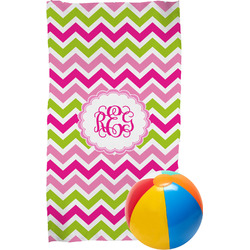 Pink & Green Chevron Beach Towel (Personalized)