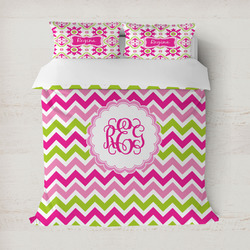 Pink & Green Chevron Duvet Cover (Personalized)