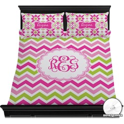 Pink & Green Chevron Duvet Cover Set (Personalized)