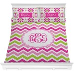 Pink & Green Chevron Comforters (Personalized)