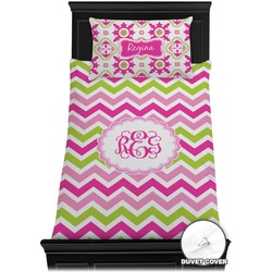 Pink & Green Chevron Duvet Cover Set - Twin (Personalized)