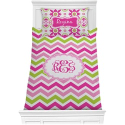 Pink & Green Chevron Comforter Set - Twin (Personalized)