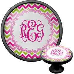 Pink & Green Chevron Cabinet Knob (Black) (Personalized)