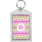 Pink & Green Chevron Bling Keychain (Personalized)