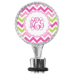 Pink & Green Chevron Wine Bottle Stopper (Personalized)