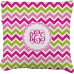 Pink & Green Chevron Faux-Linen Throw Pillow (Personalized)