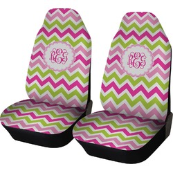 Pink & Green Chevron Car Seat Covers (Set of Two) (Personalized)