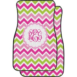 Pink & Green Chevron Car Floor Mats (Front Seat) (Personalized)
