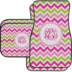 Pink & Green Chevron Car Floor Mats Set - 2 Front & 2 Back (Personalized)