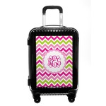 Pink & Green Chevron Carry On Hard Shell Suitcase (Personalized)