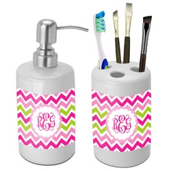 Pink & Green Chevron Bathroom Accessories Set (Ceramic) (Personalized)