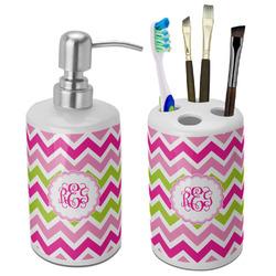 Pink & Green Chevron Bathroom Accessories Set (Ceramic) (Personalized)