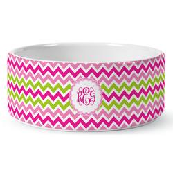 Pink & Green Chevron Ceramic Dog Bowl (Personalized)