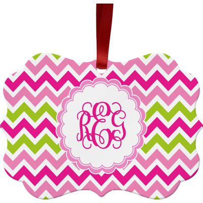 Pink & Green Chevron Ornament (Personalized)