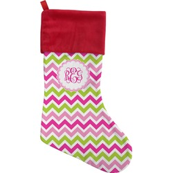 Pink & Green Chevron Christmas Stocking (Personalized)