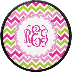 Pink & Green Chevron Round Trailer Hitch Cover (Personalized)