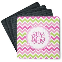 Pink & Green Chevron 4 Square Coasters - Rubber Backed (Personalized)