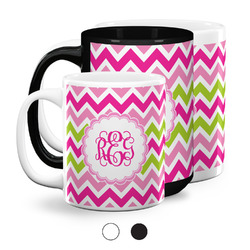 Pink & Green Chevron Coffee Mugs (Personalized)