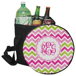 Pink & Green Chevron Collapsible Cooler & Seat (Personalized)
