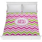 Pink & Green Chevron Comforter (Personalized)
