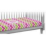 Pink & Green Chevron Crib Fitted Sheet (Personalized)
