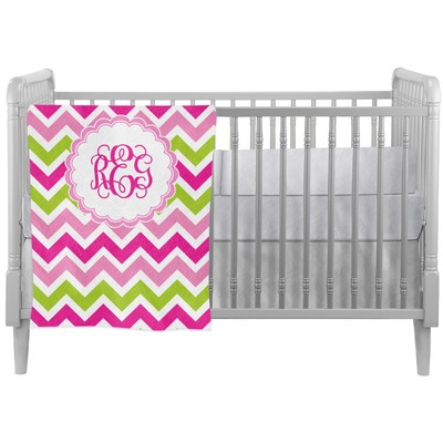 Pink & Green Chevron Crib Comforter / Quilt (Personalized)
