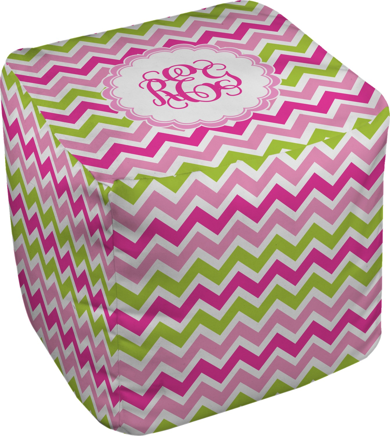 Remarkable Pink Green Chevron Cube Pouf Ottoman Personalized Cjindustries Chair Design For Home Cjindustriesco