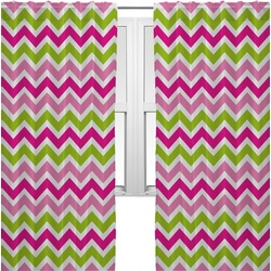 Pink & Green Chevron Curtains (2 Panels Per Set) (Personalized)
