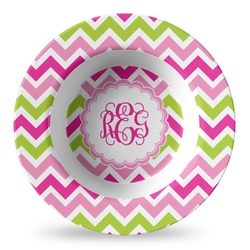 Pink & Green Chevron Plastic Bowl - Microwave Safe - Composite Polymer (Personalized)