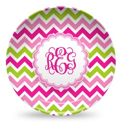 Pink & Green Chevron Microwave Safe Plastic Plate - Composite Polymer (Personalized)