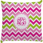 Pink & Green Chevron Decorative Pillow Case (Personalized)