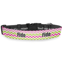 """Pink & Green Chevron Deluxe Dog Collar - Small (8.5"""" to 12.5"""") (Personalized)"""