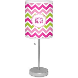 """Pink & Green Chevron 7"""" Drum Lamp with Shade Linen (Personalized)"""