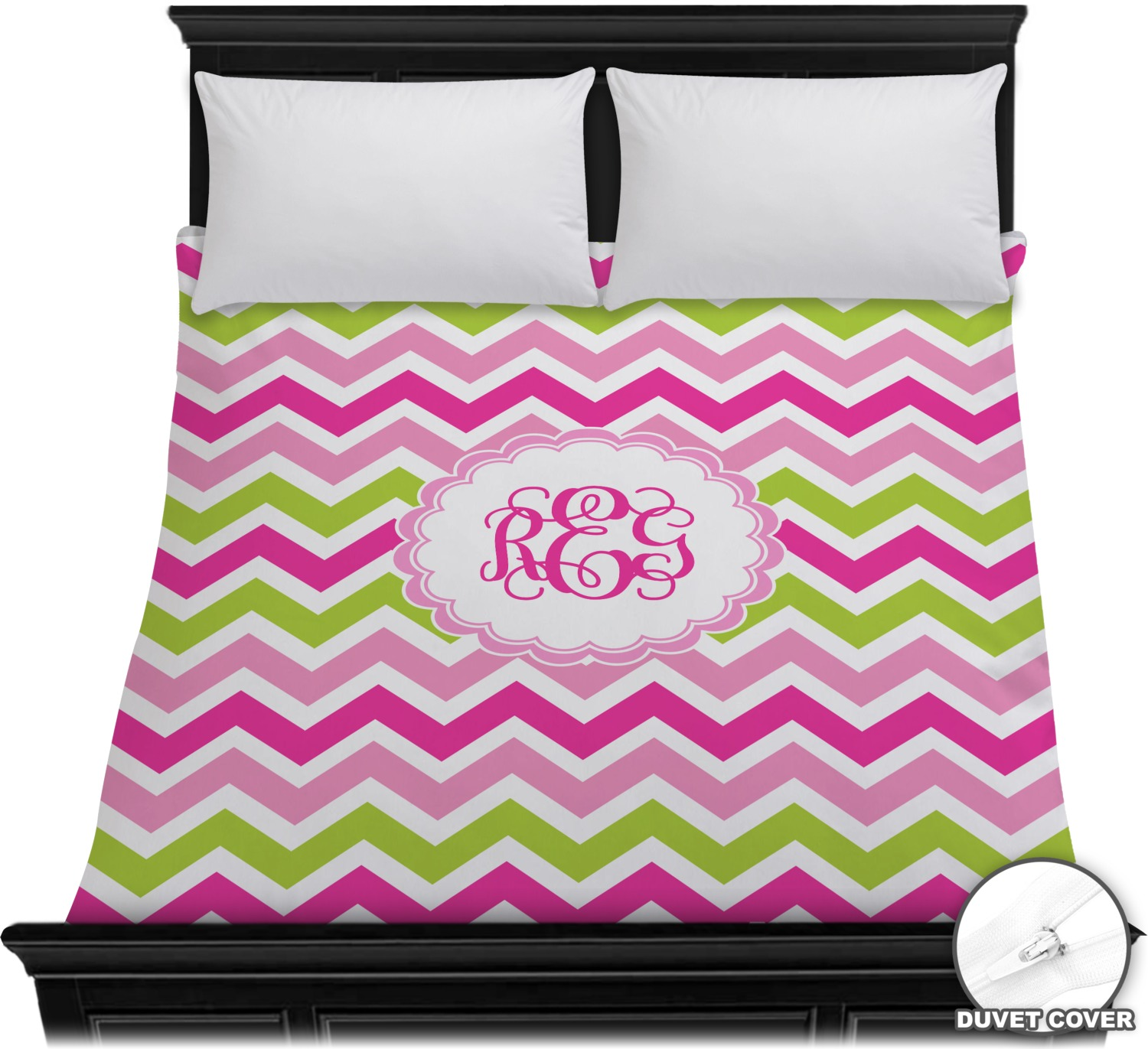 Pink Amp Green Chevron Duvet Cover Personalized