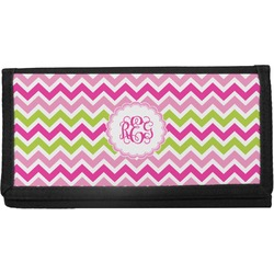 Pink & Green Chevron Canvas Checkbook Cover (Personalized)