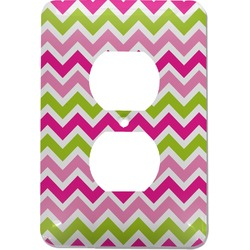 Pink & Green Chevron Electric Outlet Plate (Personalized)