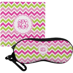 Pink & Green Chevron Eyeglass Case & Cloth (Personalized)