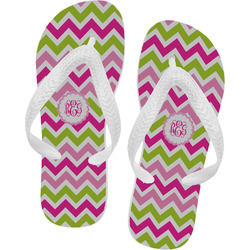 Pink & Green Chevron Flip Flops (Personalized)