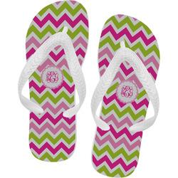Pink & Green Chevron Flip Flops (Personalized)