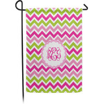 Pink & Green Chevron Garden Flag - Single or Double Sided (Personalized)