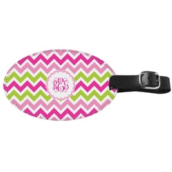 Pink & Green Chevron Genuine Leather Oval Luggage Tag (Personalized)